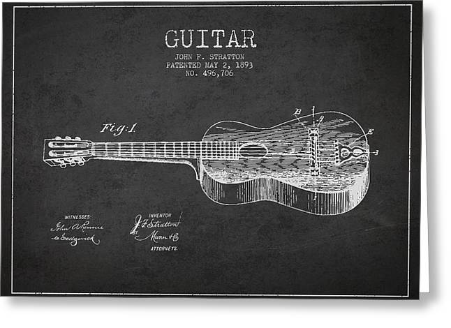 Stratton Guitar Patent Drawing From 1893 Greeting Card by Aged Pixel