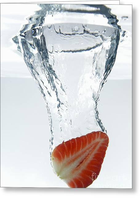 Strawberry Fruit Splashing Underwater Greeting Card by Sami Sarkis