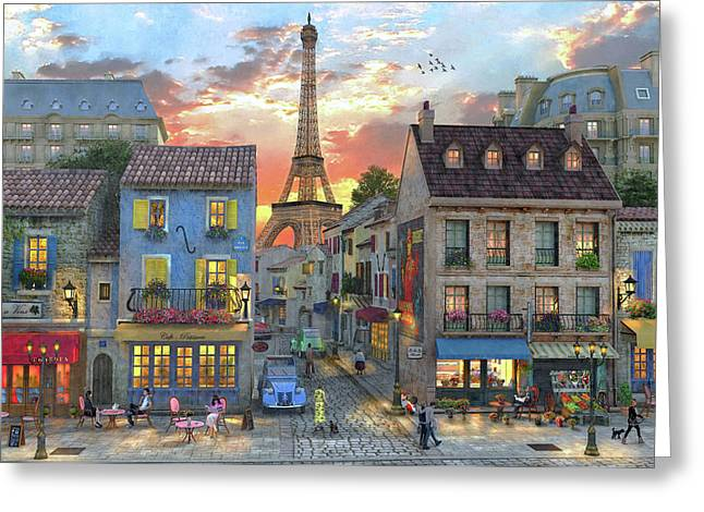 Streets Of Paris Greeting Card by Dominic Davison