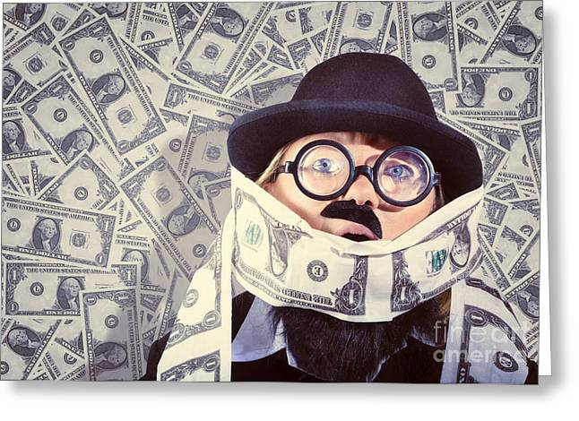 Stressed Business Man Drowning In Financial Debt Greeting Card by Jorgo Photography - Wall Art Gallery