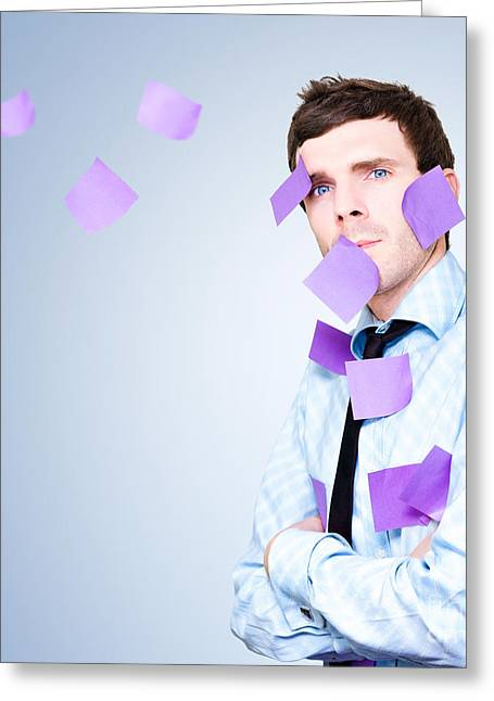 Stressed Business Person With Massive Schedule Greeting Card by Jorgo Photography - Wall Art Gallery