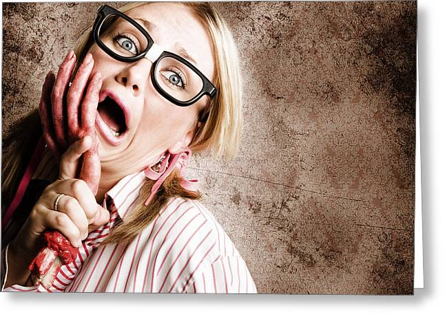 Stressed Businesswoman Under Attack At Work Greeting Card by Jorgo Photography - Wall Art Gallery