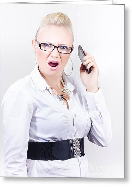 Stressed Employee Communicating In Workplace Greeting Card by Jorgo Photography - Wall Art Gallery