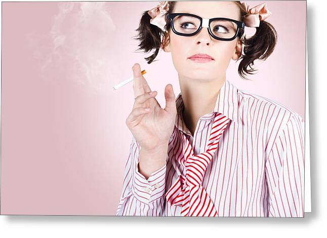 Stressed Geeky Office Worker On Smoke Break Greeting Card by Jorgo Photography - Wall Art Gallery