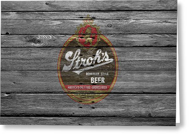 Strohs Beer Greeting Card by Joe Hamilton