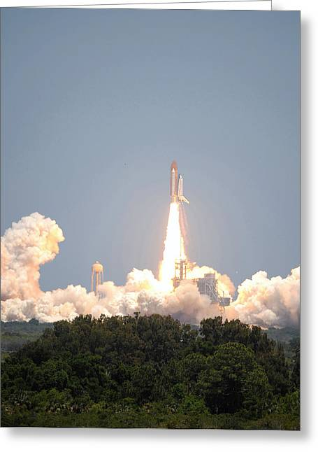 Sts-132, Space Shuttle Atlantis Launch Greeting Card by Science Source
