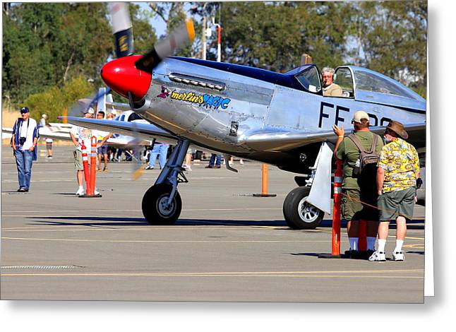 Stu Eberhardt And His P51d Merlin's Magic  Greeting Card by John King