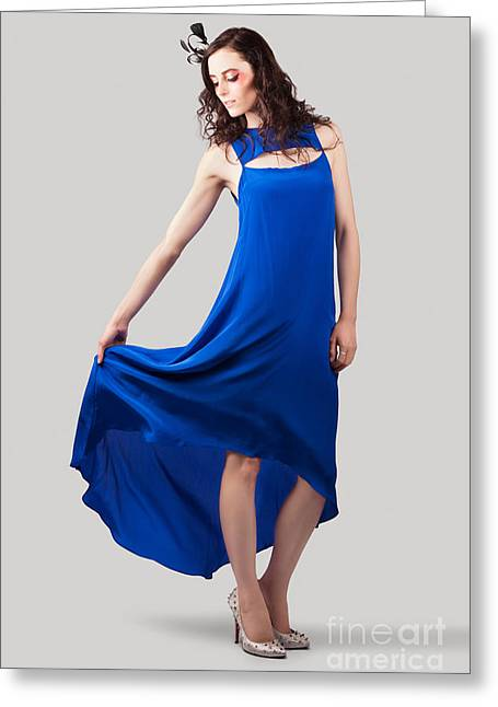 Studio Fashion Woman In Blue Dress Greeting Card by Jorgo Photography - Wall Art Gallery