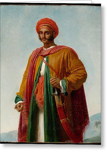 Study For Portrait Of An Indian Greeting Card by Anne Louis Girodet-Trioson