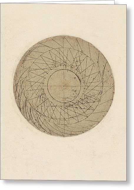 Study Of Water Wheel From Atlantic Codex Greeting Card by Leonardo Da Vinci
