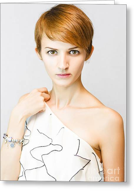 Stunned And Surprised Fashion Model Greeting Card by Jorgo Photography - Wall Art Gallery