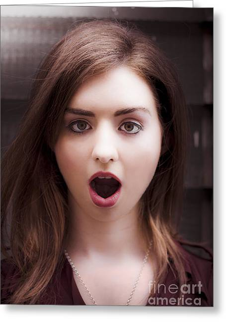 Stunned Shocked Surprised Woman Greeting Card by Jorgo Photography - Wall Art Gallery