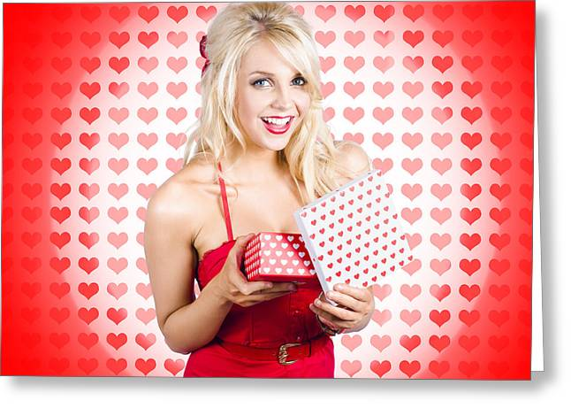 Stunning Young Blond Beauty Holding Heart Present Greeting Card by Jorgo Photography - Wall Art Gallery