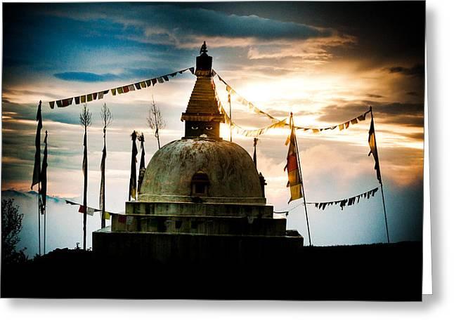 Stupa In Himalyas Mountain  Greeting Card by Raimond Klavins