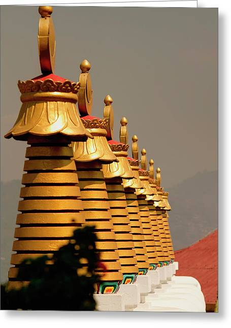 Stupas In A Buddhist Monastery Greeting Card