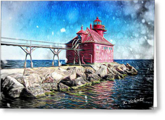 Sturgeon Bay Lighthouse Greeting Card by Kelly Schutz
