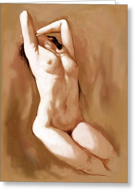 Stylised Nude Girl Drawing Art Sketch Greeting Card by Kim Wang