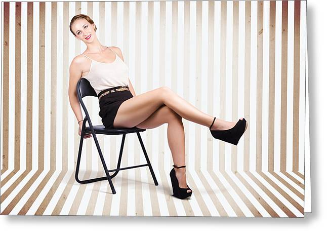 Stylish Brunette Pinup Woman In Vintage Interior Greeting Card