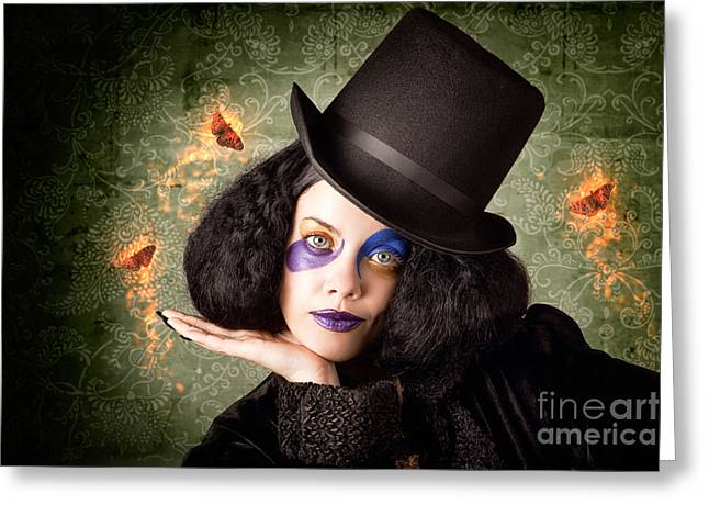 Stylish Female Magician Performing Magic Trick Greeting Card