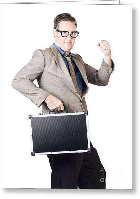 Successful Businessman With Briefcase Greeting Card