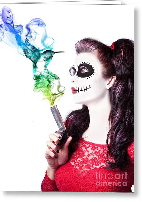 Sugar Skull Girl Blowing On Smoking Gun Greeting Card by Jorgo Photography - Wall Art Gallery