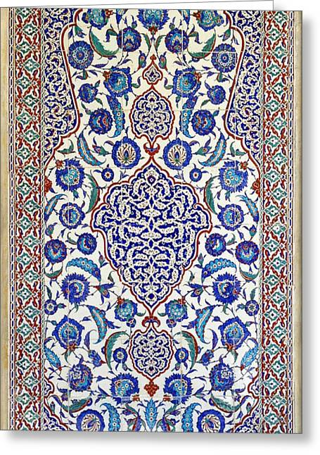 Sultan Selim II Tomb 16th Century Hand Painted Wall Tiles Greeting Card by Ralph A  Ledergerber-Photography