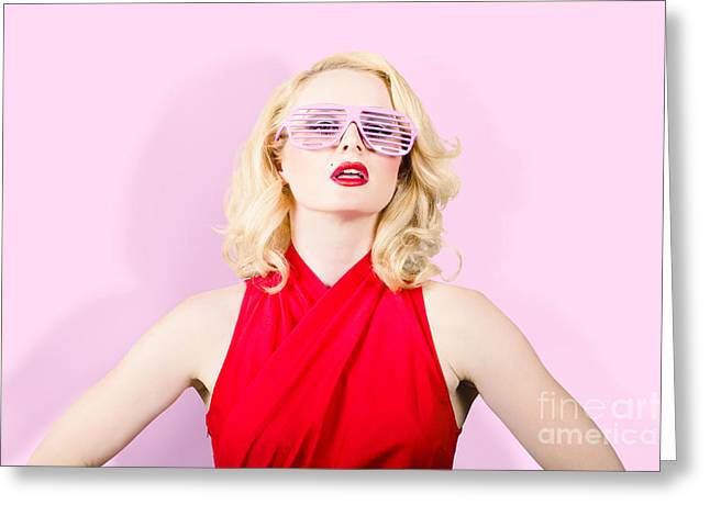 Summer Fashion Model. Girl In A Pink Sun Glasses Greeting Card by Jorgo Photography - Wall Art Gallery