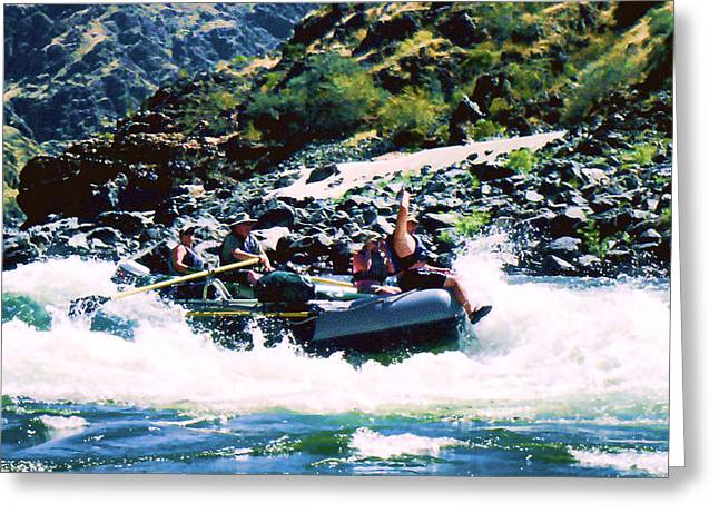 River Rafting Art Print Greeting Cards - Summer fun Greeting Card by Ron Roberts