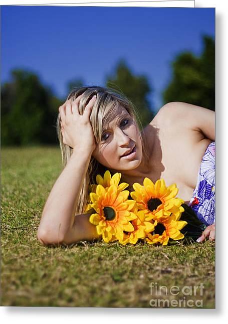 Summer Sun Flowers Woman Greeting Card by Jorgo Photography - Wall Art Gallery