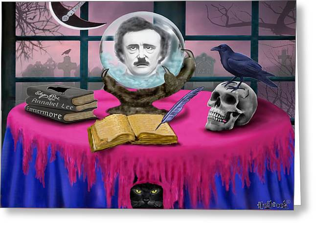 Summoning Edgar Allan Poe Greeting Card by Glenn Holbrook