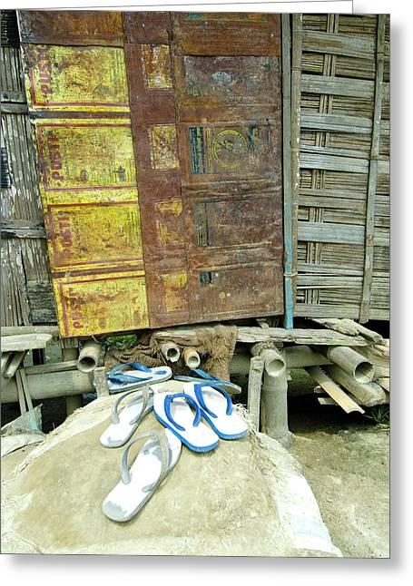 Sumoimari Ghat, Majuli Island, Assam Greeting Card