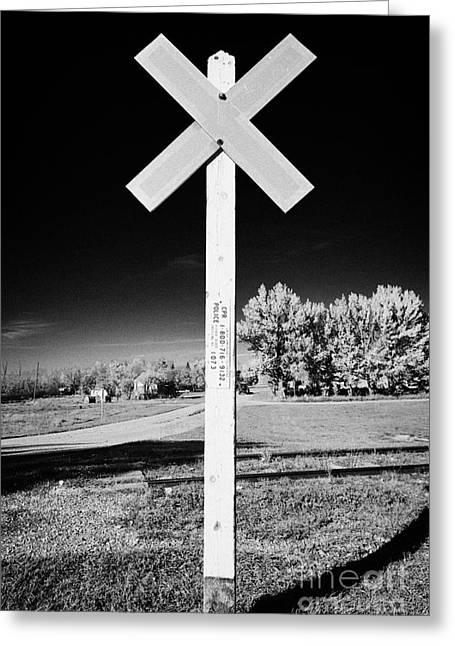 sun bleached railroad crossing sign Saskatchewan Canada Greeting Card by Joe Fox