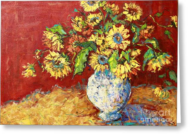 Sun Drenched Sunflowers Greeting Card by Sharon Furner