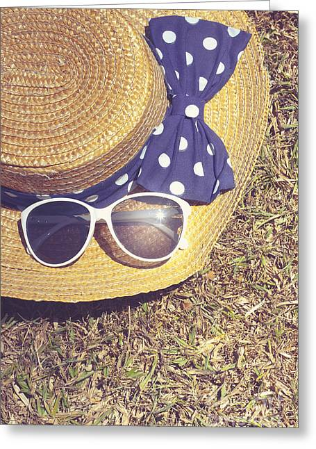 Sun Hat On Dry Australian Grass Background Greeting Card by Jorgo Photography - Wall Art Gallery