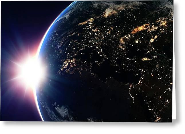 Sun Over Earth Greeting Card by Andrzej Wojcicki