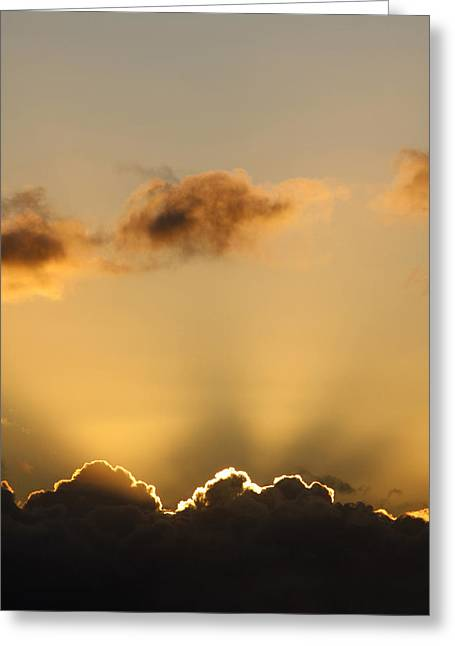 Sun Rays And Dark Clouds Greeting Card