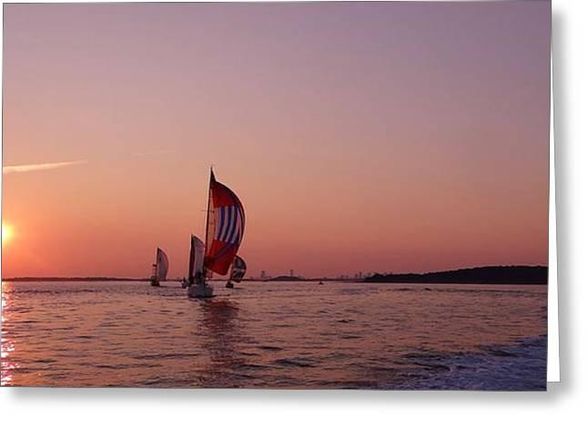 Sun Setting Over Boston Series Greeting Card