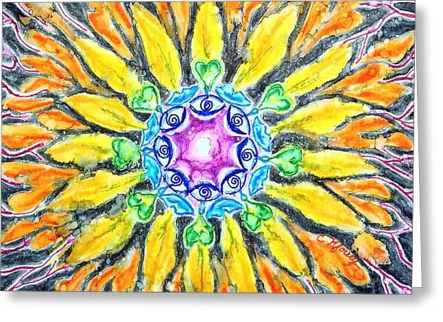 Sunflower Chakra Doodle Greeting Card by Christine Kfoury