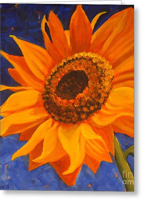 Greeting Card featuring the painting Sunflower Gazing by Janet McDonald
