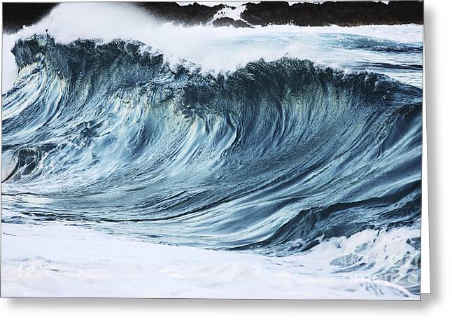 Sunlit Wave Greeting Card by Vince Cavataio