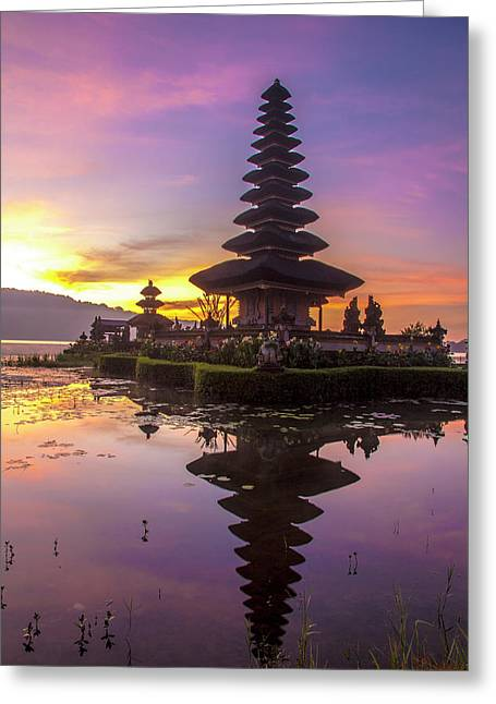 Sunrise At Bali Water Temple, Ulun Danu Greeting Card by Emily Wilson