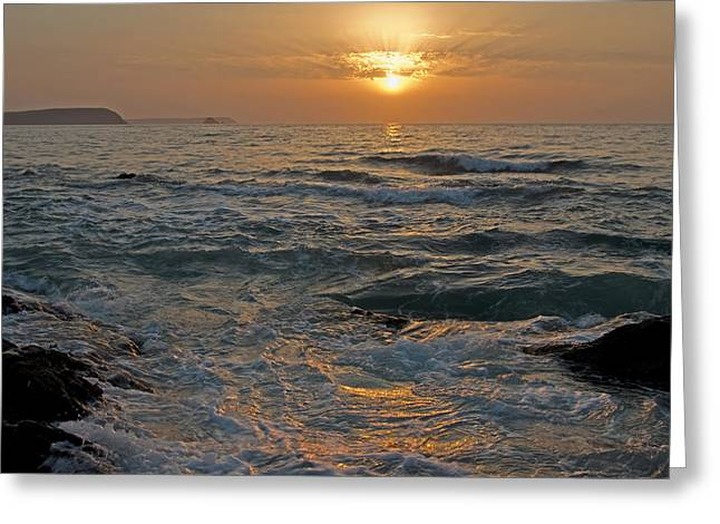 Sunrise At Portscatho Greeting Card by Pete Hemington