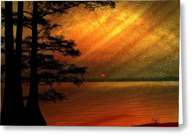 Greeting Card featuring the digital art Sunrise At Reelfoot Lake by J Larry Walker