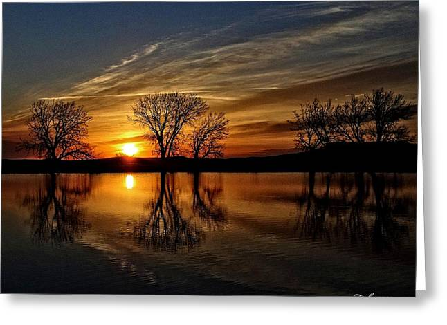 Sunrise At The Fishing Hole Greeting Card by Fiskr Larsen