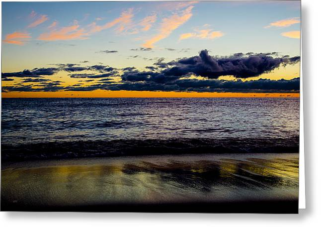 Greeting Card featuring the photograph Sunrise Lake Michigan September 14th 2013 001 by Michael  Bennett