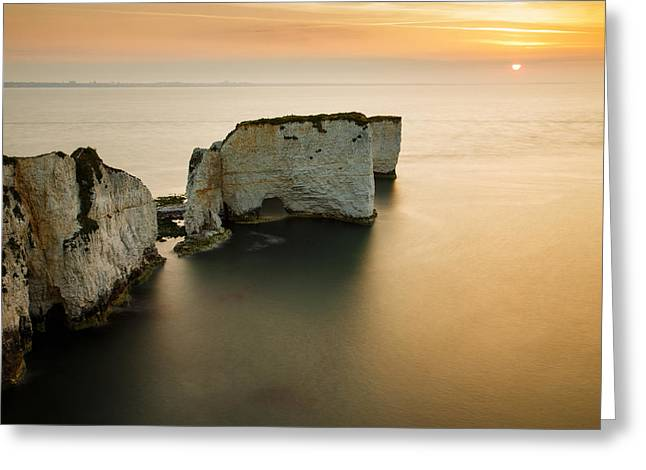 Sunrise Old Harry Rocks Greeting Card