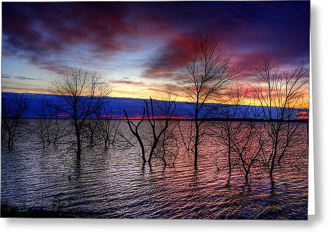 Greeting Card featuring the photograph Sunrise On Devils Lake by Larry Trupp