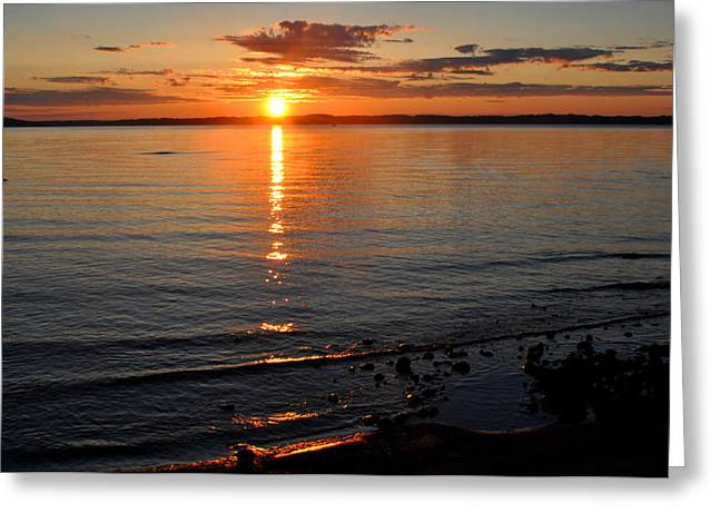 Sunrise On Grand Traverse Bay Greeting Card