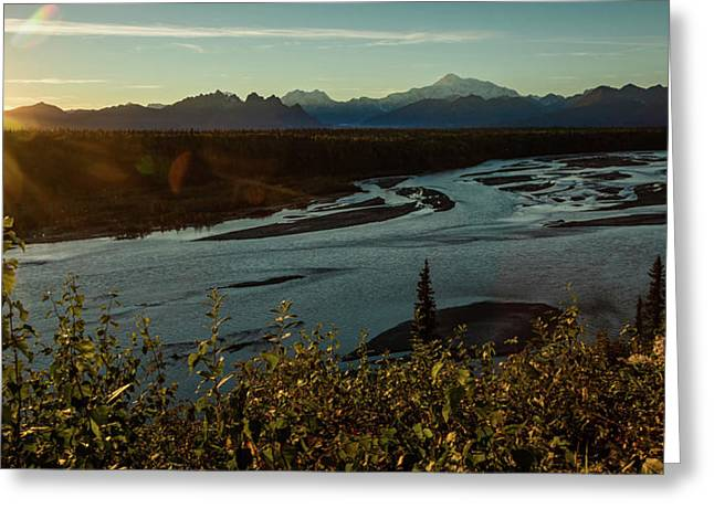 Sunrise On Mnt Denali, Trapper Creek Greeting Card