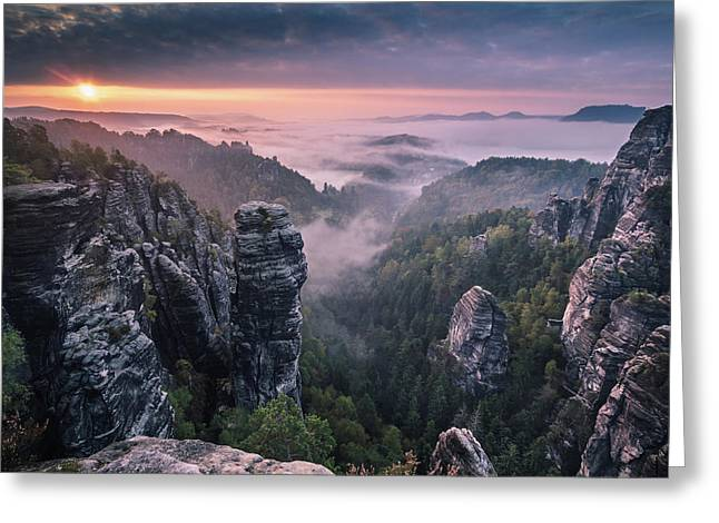 Sunrise On The Rocks Greeting Card by Andreas Wonisch